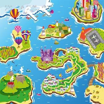 어린이 놀이 매트와 롤 매트를 위한 보트 경로 도전이 있는 섬 바다 차선 지도 그림