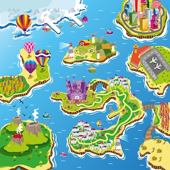 Island sea lane maps illustration with boat route challenge for kids play mat and roll mat