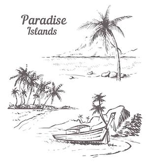 Остров эскиз пейзаж, изолированные на белом фоне