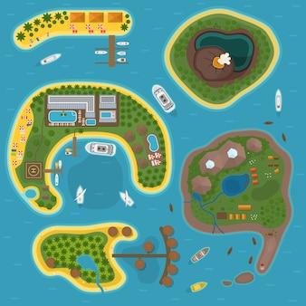 Остров вид сверху иллюстрации.