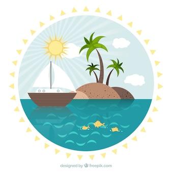 フラットデザインのボート夏の風景と島