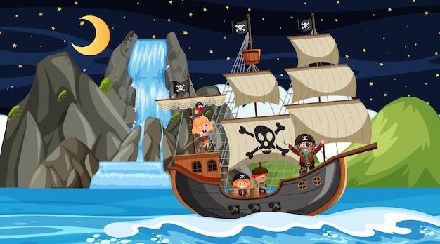 Остров с пиратским кораблем на ночной сцене в мультяшном стиле