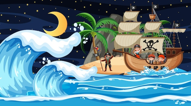 漫画風の夜のシーンで海賊船と島