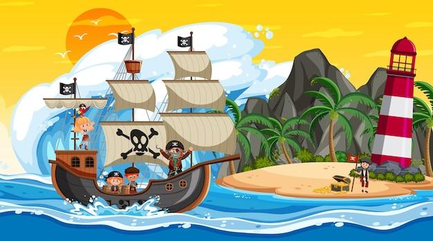 Остров с пиратским кораблем на закате в мультяшном стиле
