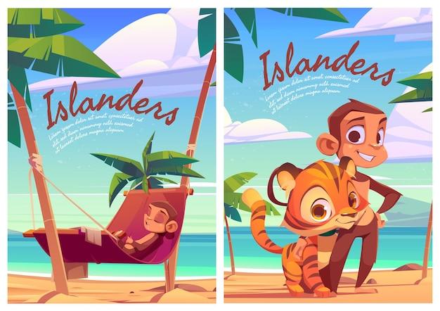 Islanders cartoon posters with monkey and tiger cub funny wild animals island inhabitants predator a...