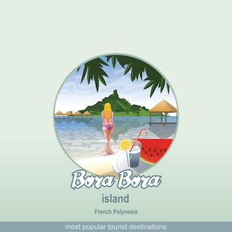 Острова французской полинезии бора, бора с девушкой, заходящей в воду.