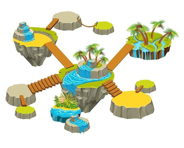 庭のある島々。