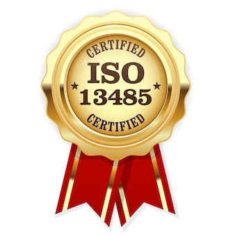 Iso 13485 standard certified medal with red ribbon