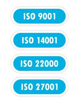 Четыре синих объекта с надписью iso 14001, iso 9001, iso 22000, iso 27001 изображены на белом фоне.
