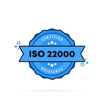 Iso 22000 스탬프입니다. . iso 22000 배지 아이콘입니다. 인증 배지 로고. 스탬프 템플릿입니다.