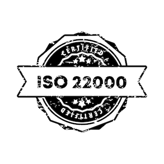 Iso 22000 stamp. vector. iso 22000 badge icon. certified badge logo. stamp template. label, sticker, icons. vector eps 10. isolated on white background.