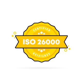 Iso 26000 스탬프입니다. 벡터. iso 26000 배지 아이콘입니다. 인증 배지 로고. 스탬프 템플릿. 레이블, 스티커, 아이콘입니다. 벡터 eps 10입니다. 흰색 배경에 고립.