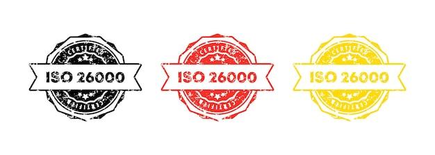 Iso 26000 스탬프. 벡터. iso 26000 배지 아이콘입니다. 인증 배지 로고. 스탬프 템플릿. 레이블, 스티커, 아이콘입니다. 벡터 eps 10입니다. 흰색 배경에 고립.