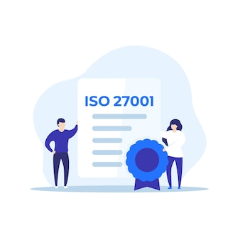 Iso 27001 certificate and people, vector