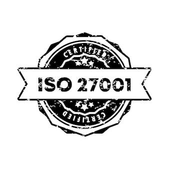 Iso 27001 스탬프입니다. 벡터. iso 27001 배지 아이콘입니다. 인증 배지 로고. 스탬프 템플릿. 레이블, 스티커, 아이콘입니다. 벡터 eps 10입니다. 흰색 배경에 고립.