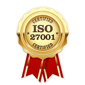 Iso 27001 standard certified medal with red ribbon