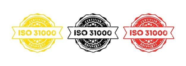 Iso 31000 스탬프입니다. 벡터. iso 31000 배지 아이콘입니다. 인증 배지 로고. 스탬프 템플릿. 레이블, 스티커, 아이콘입니다. 벡터 eps 10입니다. 흰색 배경에 고립.