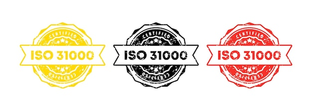 Iso 31000 stamp. vector. iso 31000 badge icon. certified badge logo. stamp template. label, sticker, icons. vector eps 10. isolated on white background.