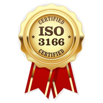 Iso 3166 standard certified medal with red ribbon