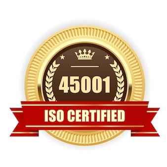 Iso 45001 인증 메달-산업 보건 및 안전