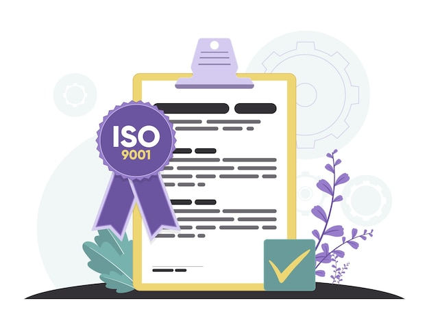 Iso 9001 certification with violet ribbon
