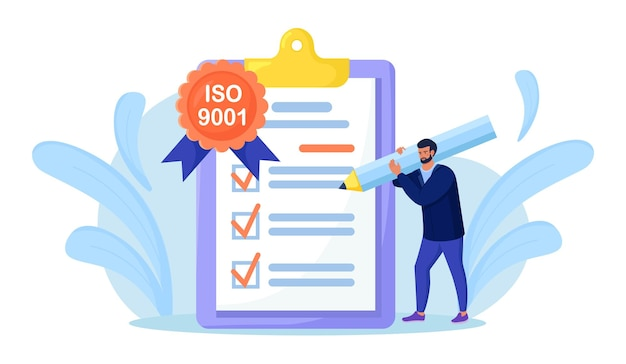 Iso 9001 quality management system, international certification. businessman confirm, certify quality product in accordance with iso 9001, standard quality control. document standardization industry