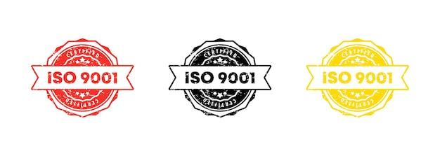 Iso 9001 스탬프입니다. 벡터. iso 9001 배지 아이콘입니다. 인증 배지 로고. 스탬프 템플릿. 레이블, 스티커, 아이콘입니다. 벡터 eps 10입니다. 흰색 배경에 고립.