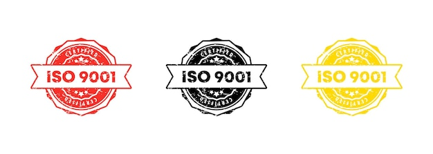 Iso 9001 stamp. vector. iso 9001 badge icon. certified badge logo. stamp template. label, sticker, icons. vector eps 10. isolated on white background. Premium Vector