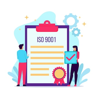 Iso certification illustration with notepad