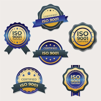 Iso certification stamp with ribbon Premium Vector