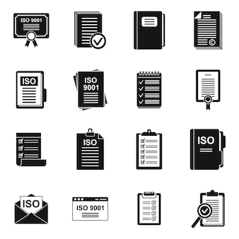 Iso standard icons set simple vector. certified quality. certificate document