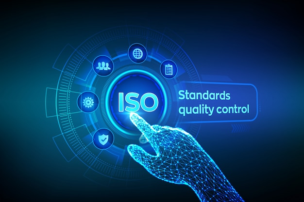 Iso standards quality control . robotic hand touching digital interface.