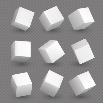 Isolated 3d cubics. white geometric cubes or block box shapes with shadows vector set