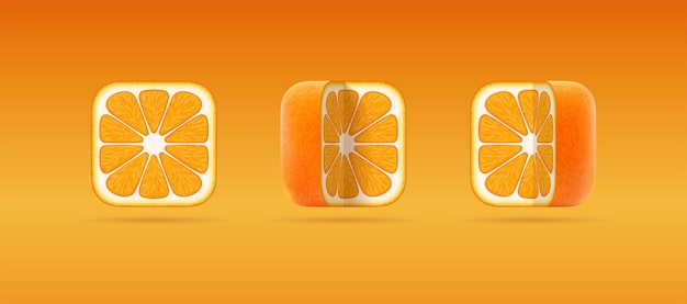 Isolated 3d icons of square cut orange mandarin for citrus juice vegetarian eco natural food