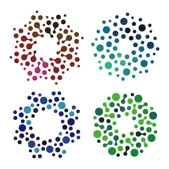 격리 된 추상 다채로운 둥근 모양 로고 흰색 배경 벡터에 장식 요소를 설정