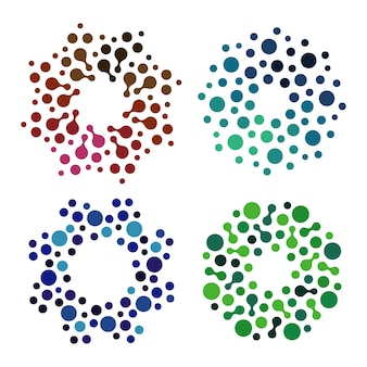 Isolated abstract colorful round shape logos set decorative elements on white background vector