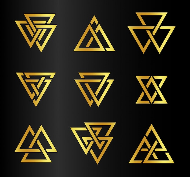 Isolated abstract golden color triangles contour logo set on black
