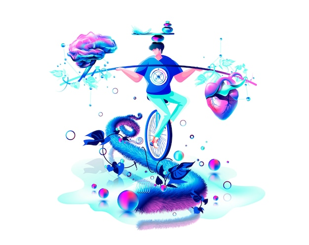 Isolated abstract modern colorful illustration. man circus performer riding unicycle on rope balance in hand equilibrium counterpoise between heart and brain mind perpetual motion machine