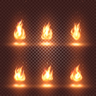 Isolated abstract realistic fire flame images set on checkered background