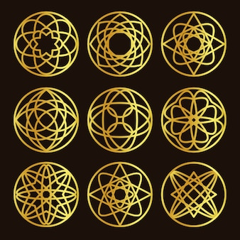 Isolated abstract round shape golden color logo set
