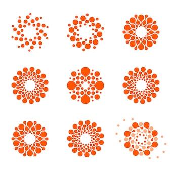 白い背景の赤い色の点線のロゴタイプコレクションに設定された孤立した抽象的な丸い形のロゴ