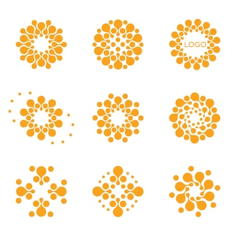 Isolated abstract round shape logo set on white background orange color dotted logotypes collection