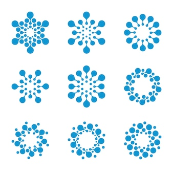 Isolated abstract round shape winter logo set on white background blue color snowflakes logotypes