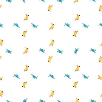 작은 녹색 및 노란색 앵무새 모양으로 고립 된 추상 완벽 한 패턴입니다. 흰색 배경. 패브릭 디자인, 섬유 인쇄, 포장, 커버용으로 설계되었습니다. 벡터 일러스트 레이 션.