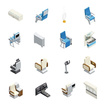 Isolated airplane interior isometric icon set with elements seats and equipment