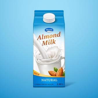 Изолированное миндальное молоко в бумажной упаковке с брызгами жидкости и орехами, брендинг натурального напитка на картонной коробке
