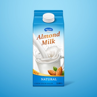 Isolated almond milk in paper package with liquid splash and nuts natural drink branding on carton