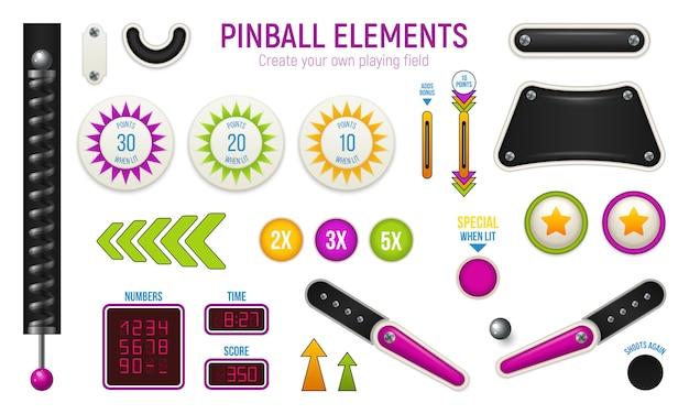 Изолированные и цветные пинбол горизонтальный значок с различными элементами колоды