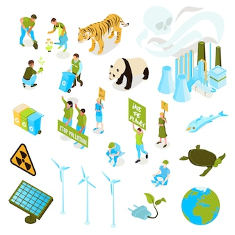 Изолированный и изометрический экологический символ загрязнения установлен со способами сохранить флору и фауну планеты