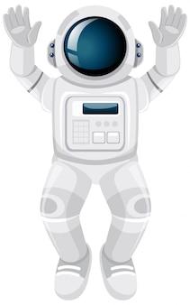 白い背景の上の孤立した宇宙飛行士漫画